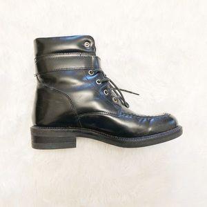 dec0213b6 Gucci Shoes | Black Leather Moto Boots Italy Black 65 | Poshmark
